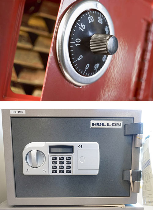 analog safe lock (top) and digital safe lock (bottom)