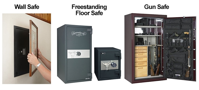 images of a wall safe, floor safe, and a gun safe